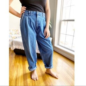 Vintage Pleated High Waist Relaxed Fit Mom Jeans